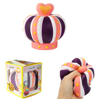 Large Colorful Heart Crown Slow Rising Squishyed Jumbo Strap Toy Scented Bread Cake Party Toy For