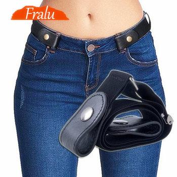 Klamra-pasek gratis na spodnie dżinsowe sukienki bez klamry elastyczny pasek dla kobiet mężczyzn bez wybrzuszenia bez kłopotów pas biodrowy tanie i dobre opinie FRALU Płótno Unisex Dla dorosłych YD10000 Paski Pasy Moda