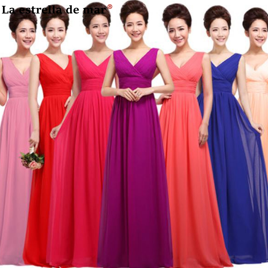 Vestido madrinha 2018 new chiffon sexy V neck a Line purple turquoise blush royal blue yellow watermelon red   bridesmaid     dresses