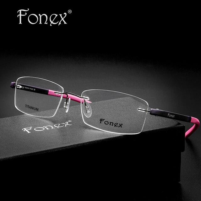 Fonex 2017 High Quality Ladies Square Myopia Rimless Glasses Women Tag Pink Memory Eyeglasses Female Optical Frame TR90 Eyewear