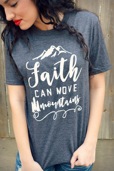 Hillbilly Faith Can More Mountains Casual Women Short Sleeve O Neck Grey T Shirts Loose Plus