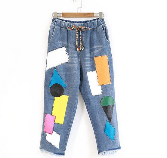 stitch Color drawstring personalized denim pants jeans  2017 summer mori girl rm1 1820 rm1 1821 fusing heating assembly use for hp 1600 2600 2600n hp1600 hp2600 fuser assembly unit