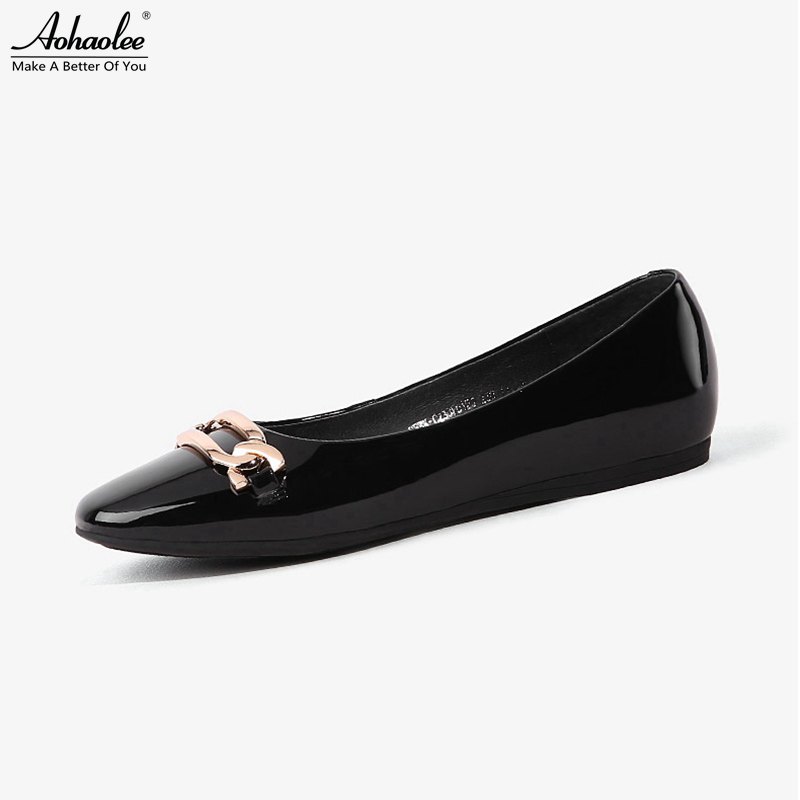 Aohaolee Round Toe Buckle Women's Ballet Shoes Genuine Patent Leather Ballet Flats Slip on Plus Size Comfortable Loafer Shoes qmn women genuine leather ballet flats women patent leather round toe slip on leisure shoes woman cute leather flats