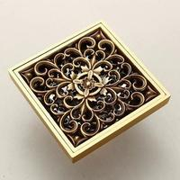 Antique Copper Anti-odor Square Bathroom Accessories Sink Floor Shower Drain Cover Luxury Sewer Filter GZ8401, Free shipping