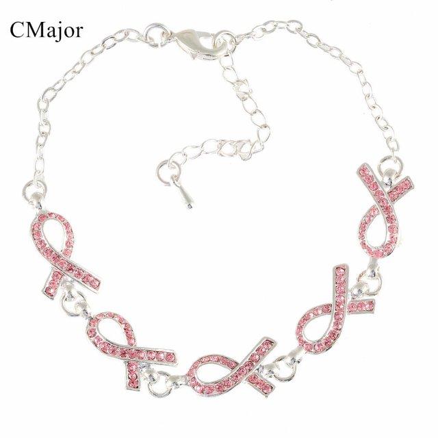 CMajor Breast Cancer Awareness Five Pink Ribbon Rhinestone Bracelet for  Women World AIDS b26c1cf60dba