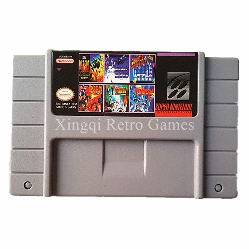 Super Nintendo SFC/SNES MS14 6 en 1 Cartucho de Juego de Consola de Video Tarjet