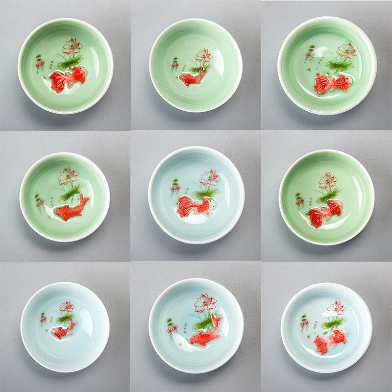 Chinese Tea Cup Porcelain Celadon Fish Teacup Set Teapot Drinkware Ceramic China Kung Fu Tea Set Ceramic cup Chinese gift D042 2