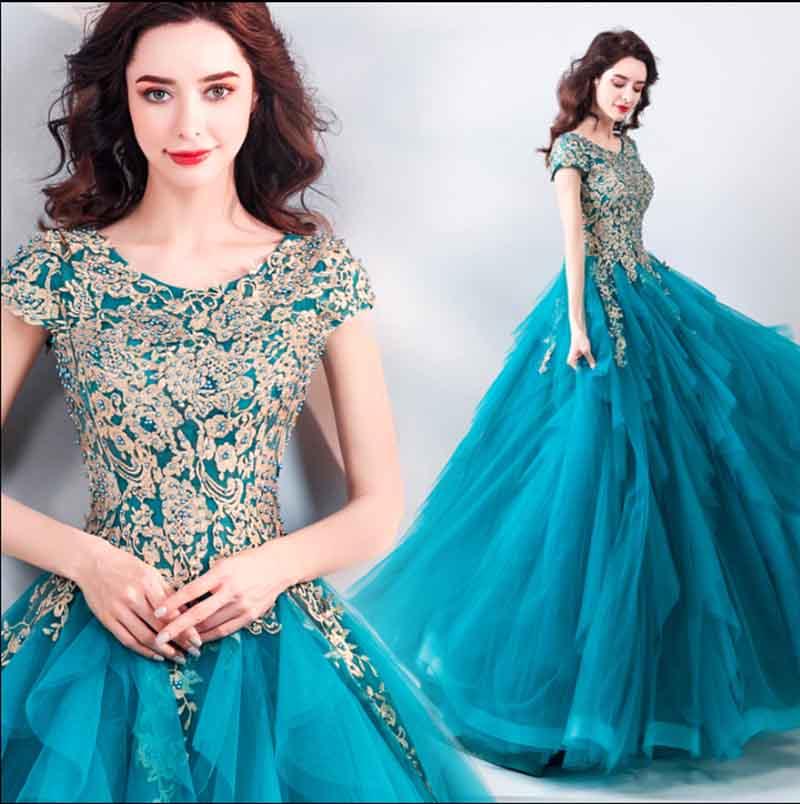 Grande taille 5XL paon bleu soirée robe de soirée de luxe à la main perles tapis rouge bal robe de bal Tutu robe cadeau d'anniversaire pour dame