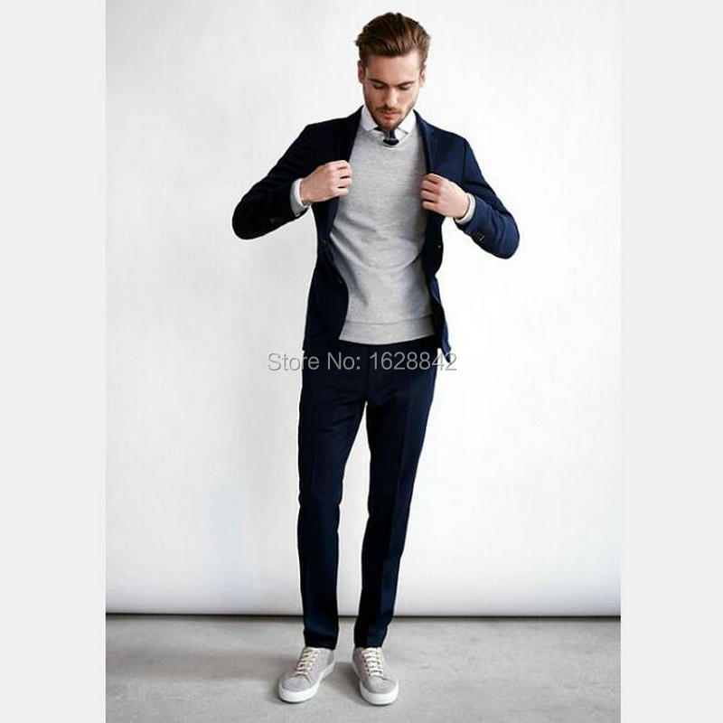 Aliexpress.com : Buy Fashion Casual Navy Blue Suit Single Breasted ...