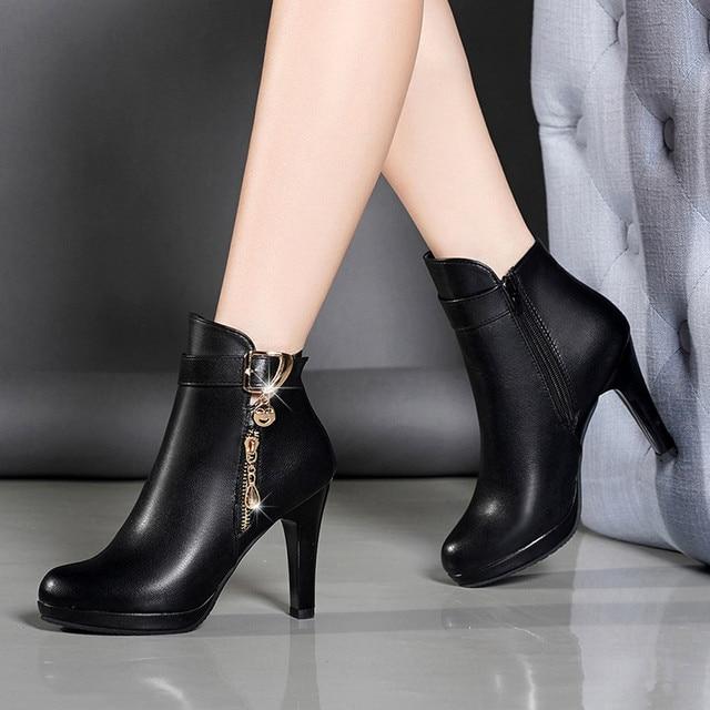 142a51331cd YOUYEDIAN Botas de Mujer de Otoño de 2018 tobillo Botas para Mujer Delgado  tacón Casual con