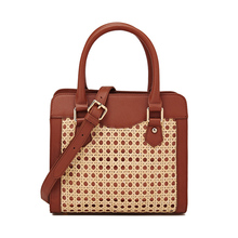 cow Leather handbags handmade rattan bag,real  leather with weaving fashion personality, crossbody bag 2019 new ins