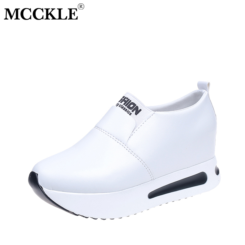 MCCKLE Women Slip On Flats Platform Spring Shoes Height Increasing Female Footwear Casual Shoes For Students Flock Flat