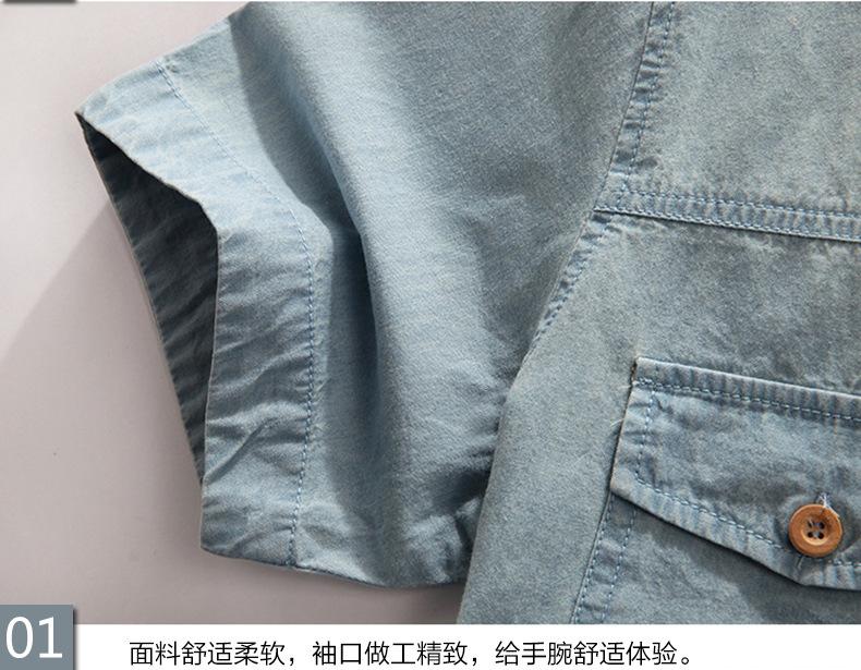 New Men's Denim Shirts Men Wear Loose Big Yards Short Sleeves Cotton Shirt Men Plus Size XL L-4XL 5XL 6XL 7XL 8XL 5z 12