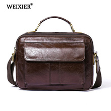 WEIXIER Genuine Leather Bag Fashion Messenger Laptop Office Large Capacity Handbags Men High Quality Casual Shoulder bags