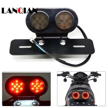 Motorcycle Turn Signal Brake Led Light License Plate Holder Tail LED Lamps 12V Cafe Racer