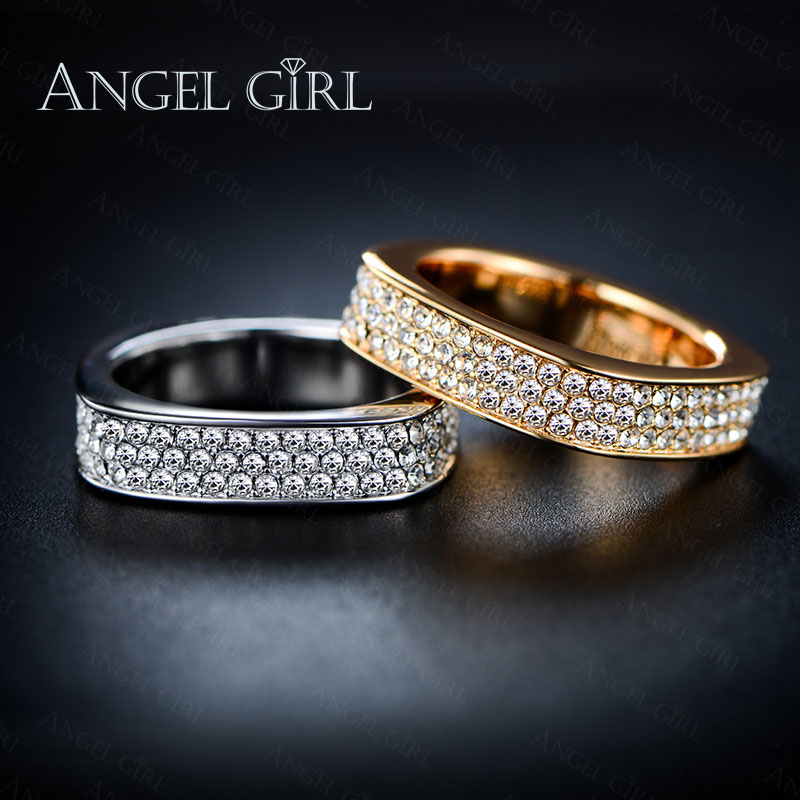 Angel Girl fine jewelry new Unique Square Filigree Wedding Ring with Micro 3 Rows of crystal Gold Color Jewelry For Women