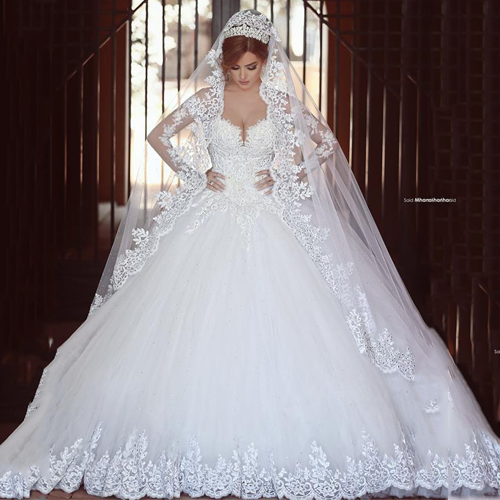 Elegant Fashion Ball Gowns Bling Long Sleeve Princess Wedding Dresses Bridal Plus Size Custom Cheap F064 In From