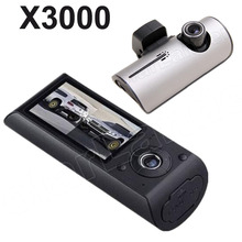 Best price X3000 Dual lens Camera 2.7″ TFT LCD Car DVR with GPS and 3D G-Sensor Digital Zoom dashCam Video Camcorder Cycle Recording