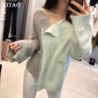 [XITAO] Korea Fashion Women 2019 Spring Summer Open Stitch Patchwork Pocket V neck Full Sleeve Casual Knitted Sweater ZLL3006