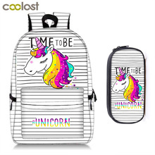 kawaii rainbow unicorn / panda / bunny cream backpack + pencil bag children school bags for teenager girl women travel backpack cute kitten cats puppy dogs print backpack pencil bag for teenager boy girl children school bags kids bookbag women backpack