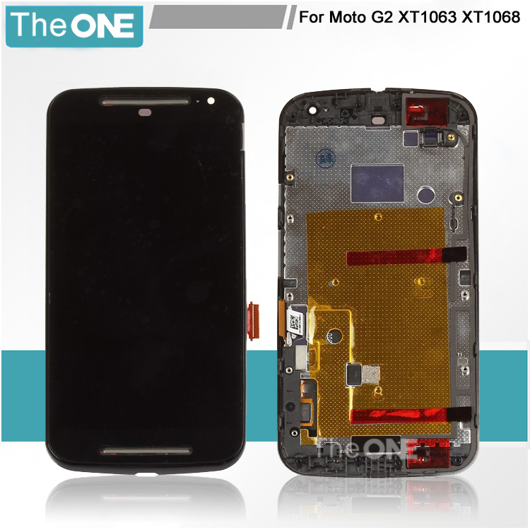 For Motorola Moto G2 lcd XT1063 XT1068 XT1069 Display Screen with Touch Digitizer with Frame Assembly 1 Piece Free Shipping new lcd display touch screen digitizer with frame for motorola moto g2 g 2nd xt1063 1064 1068 1069 free shipping