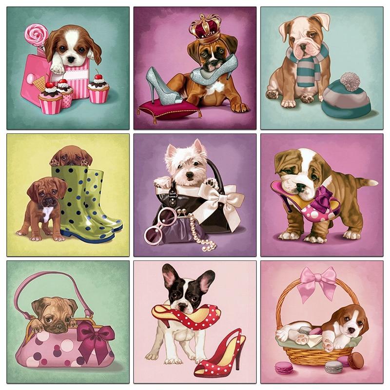 5D Diy Diamond Painting Cross Stitch Diamond Embroidery Bulldog & Lovely Dog Baby Diamond Mosaic Full Rhinestone Needlework NMX