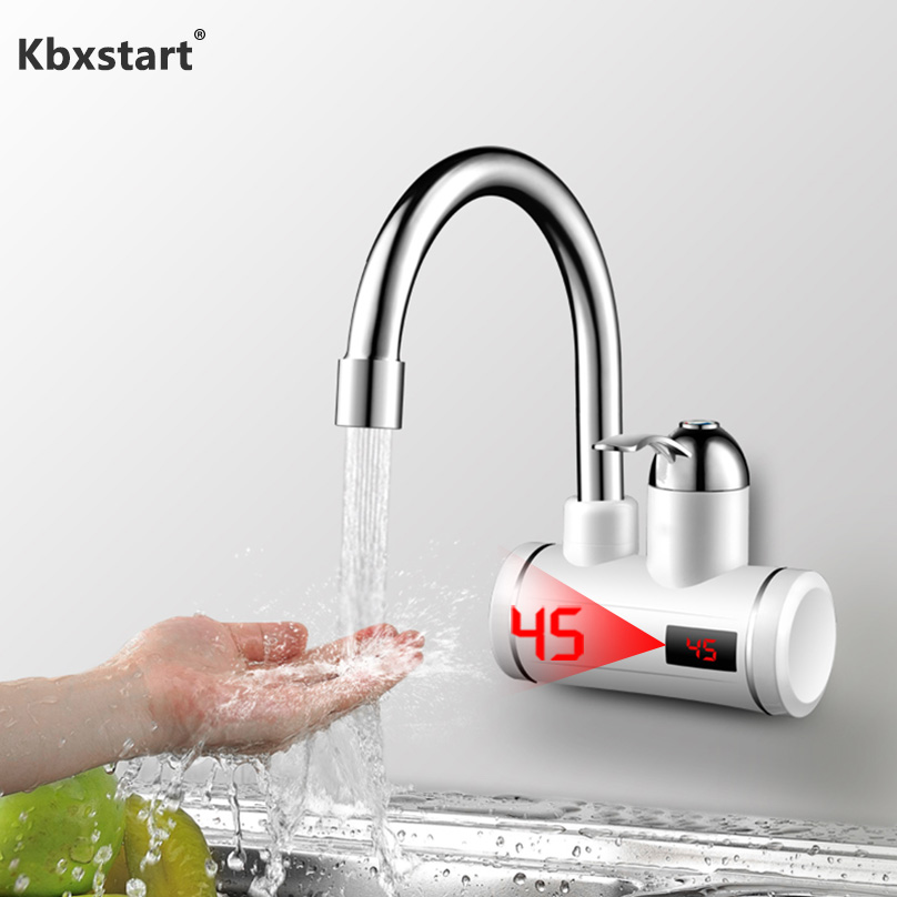 Instant Tankless Electric Hot Water Heater Faucet Kitchen Heating Tap Under and Lateral Water Inflow with LED Display UK EU PlugInstant Tankless Electric Hot Water Heater Faucet Kitchen Heating Tap Under and Lateral Water Inflow with LED Display UK EU Plug