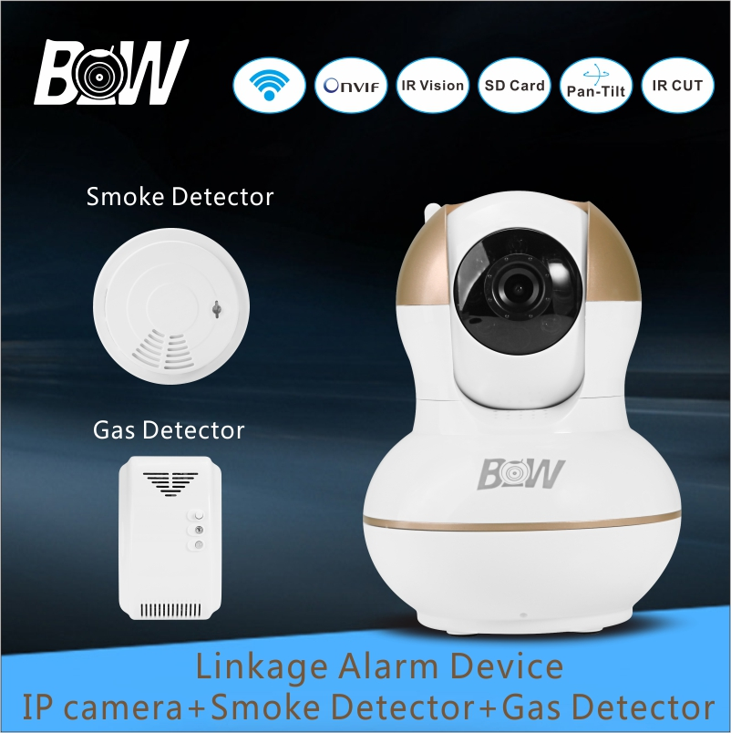 Surveillance IP Camera WiFi 720P HD PTZ Wireless Camera + Smoke Detector + Gas Detector Alarm Security Camera System BW12G bw double antennas hd 720p security camera wireless ip wifi ptz automatic sensor alarm system surveillance cctv cmos endoscope