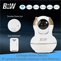 Surveillance IP Camera WiFi 720P HD PTZ Wireless Camera + Smoke Detector + Gas Detector Alarm Security Camera System BW12G
