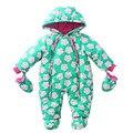 Macacão de bebê 2016 Crianças de Inverno meninas Roupas de Tecidos de Vento Quente de Veludo Infantil Traje do bebê menina Macacão
