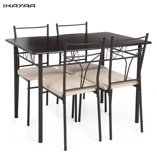 IKayaa 5 STÜCKE Moderne Metall Rahmen Küchentisch Stühle Set für 4 ...