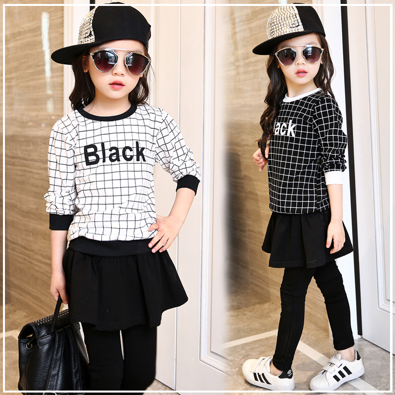 Girls clothing twinset 2016 spring casual sports set child girl long-sleeve culottes