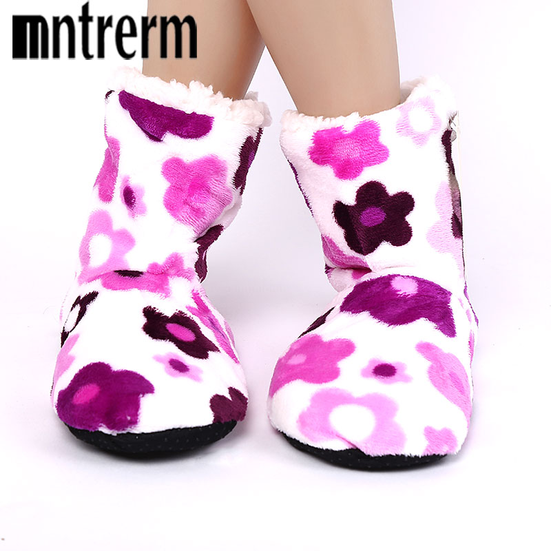 Mutrerm 2018 Women Indoor Winter Cotton Flowers Warm Slipper Home Shoes Soft Floor Household Female Plush Chinelos 5 color tolaitoe new winter warm home women slipper cotton shoes plush female floor shoe bow knot fleece indoor shoes woman home slipper