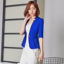 7a2fdaa9644 Casual Plus Size Ladies Blazers Office Wear Trendy Womens Blazers Short  Korean Blazer Women Half Sleeve Blazer Jacket KC5C079
