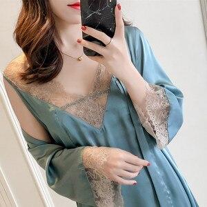Image 1 - MECHCITIZ Sexy Womens Robe & Gown Sets Lace Bathrobe + Night Dress 2 Pieces Sleepwear Womens Sleep Set Silk Robe Femme Lingerie