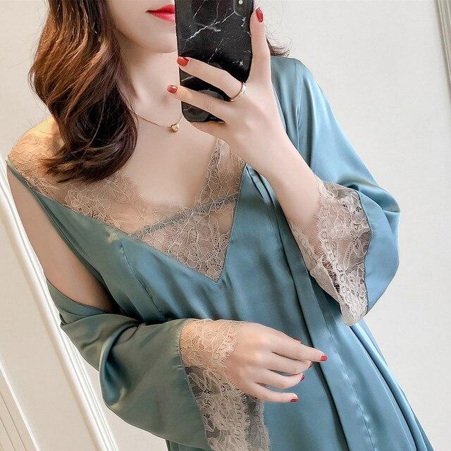 MECHCITIZ Sexy vrouwen Robe & Gown Sets Kant Badjas + Night Jurk 2 Stuks Nachtkleding Womens Slaap Set Zijde robe Femme Lingerie