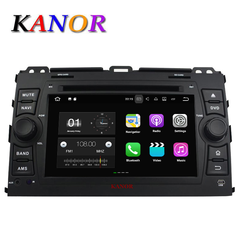 цена на KANOR 1024*600 Android 7.1.2 2 din car radio gps For Toyota Prado Land Cruiser 120 2002 2003 2004 2005 2006 2007 2008 2009