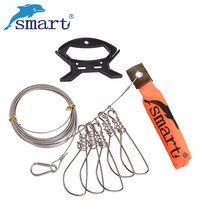Free Shipping Stainless Steel Chain Stringer With Float Fishing Lock Buckle Live Fish Lock Belt 5