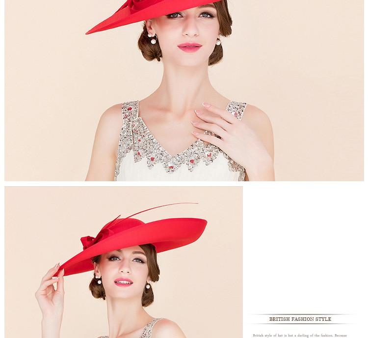5b61bd77 FS Royal Red Ladies Weddings Hats Fascinators Women Black Large Big Brim  Kentucky Derby Church Fedoras Party Dress Sinamay Hat