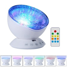 Remote Control Ocean Wave Projector Night Light 12 LED Bead 7 Colorful Light Modes for Kids Adults Bedroom Living Room
