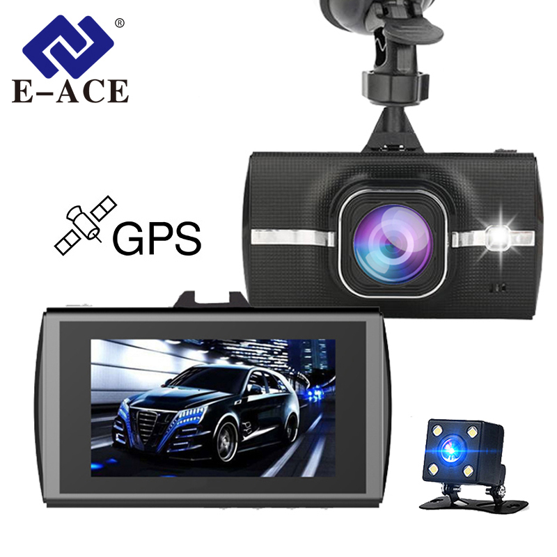 E-ACE Automobile Dvr Gps Full HD 1080 p Dual Camara Lens Video Recorder ADAS LDWS di Visione Notturna 170 Gradi WDR Dashcam Registrar