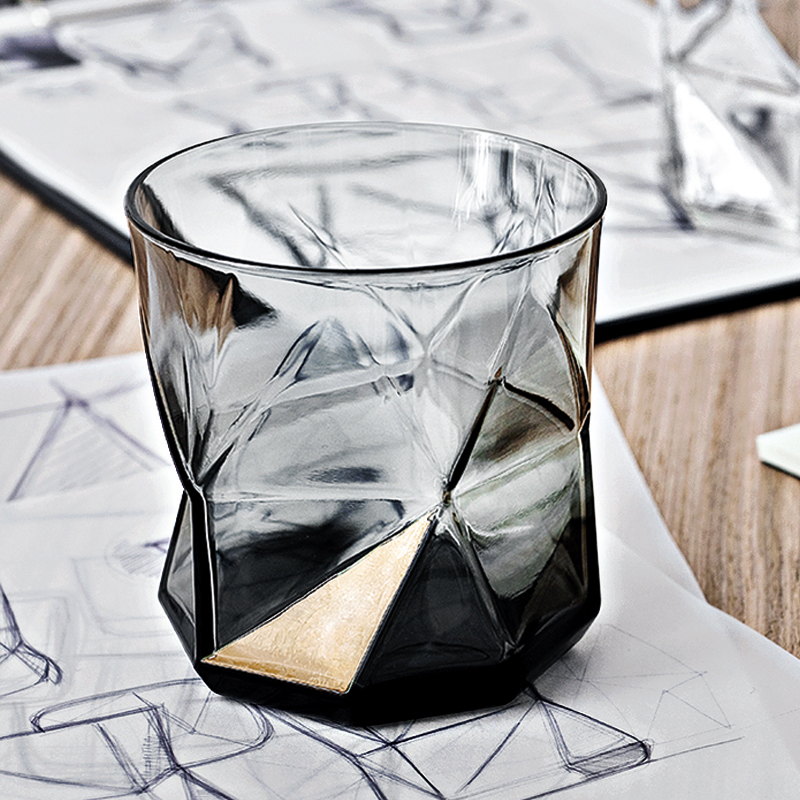 Creative Color Glass Household Heat Resistant Tea Water Cup Juice Drinkware Personality Whisky Beer Wine Glass Grey 50JB033