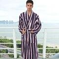 Plus size 100% roupões de algodão toweled espessamento 100% masculino algodão sleepwear médio-longo robe masculino plus size plus size