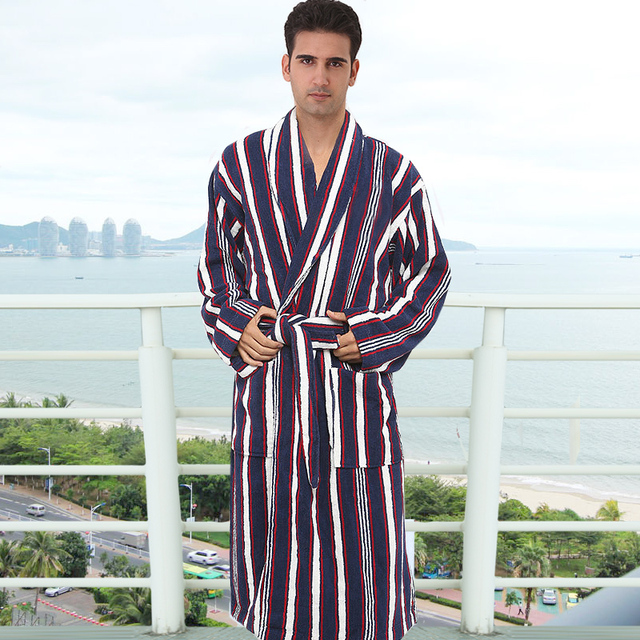 plus size 100% cotton bathrobes toweled thickening 100% male cotton sleepwear medium-long male robe plus size plus size