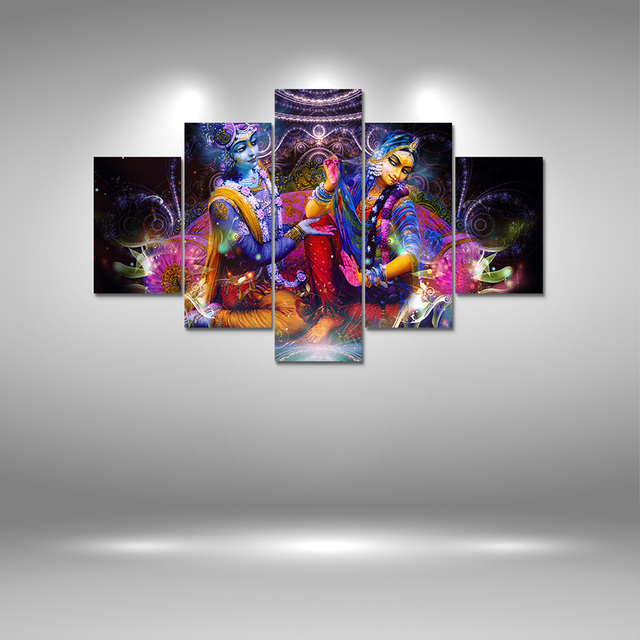 5 Panel Hd Printed Canvas Painting Radha Krishna Print Art Modern Home Decorative Wall Picture For Living Room F1205