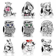 1893010a21 Cute Charming Graduate Owl Eeyore Lucky Elephant Tigger Koala Charms Fit Pandora  Bracelet 925 Sterling Silver