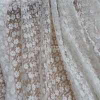 Ivory Embroidered Tulle lace Fabric Cotton Daisy Floral Fabric for Bridal Dress Lace Curtains Draping Fabric Supply