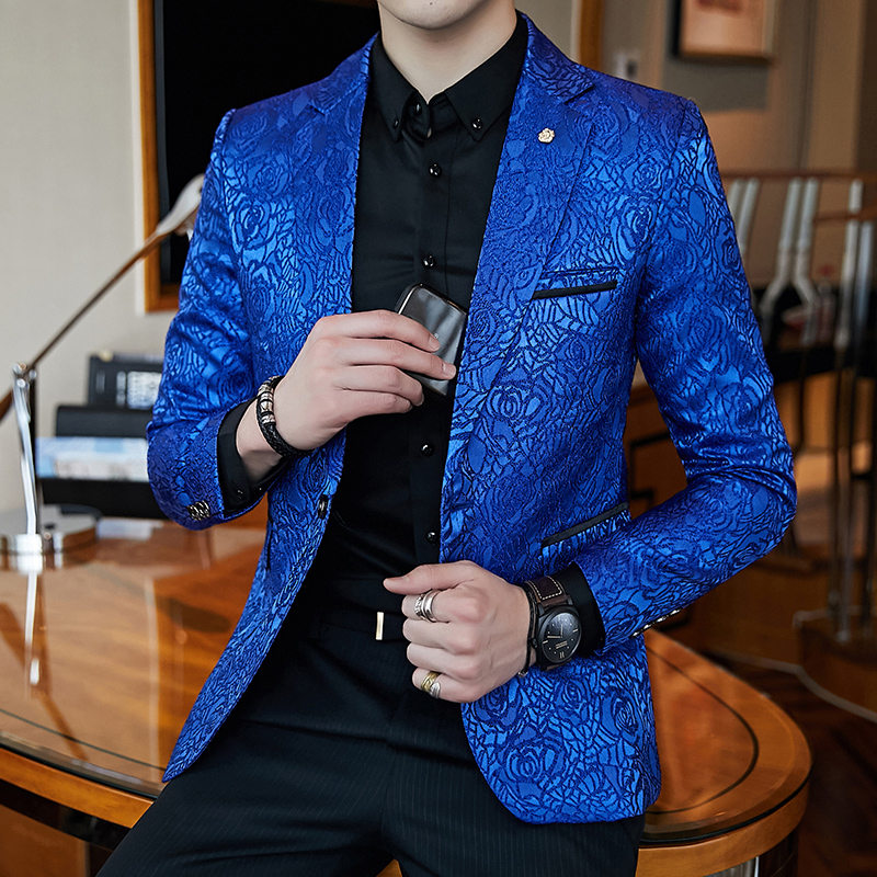 Luxury Men's Fashion Print Blazer Royal Blue Black Personality Rose Jacquard Slim Jacket Business Casual Party Wedding Blazer