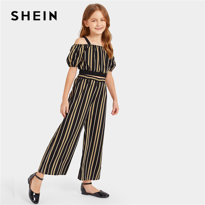 SHEIN Kiddie Striped Cold Shoulder Top And Wide Pants Casual Teenager Girls Clothes 2019 Summer Short Sleeve Boho Kids Set puff sleeve crop top and wide leg pants set