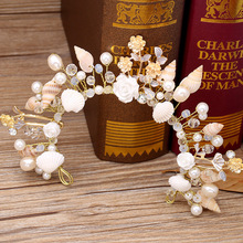 The bride jewelry European starfish pearl conch shells marriage yarn studio crown headdress accessories